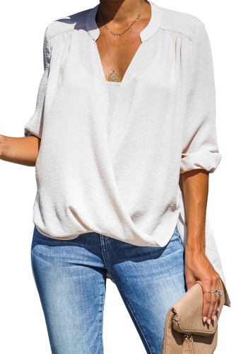 White Get You Covered Drape Front Layered Blouse
