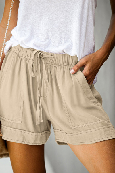 Khaki Strive Pocketed Tencel Shorts