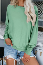 French Terry Cotton Blend Pullover Sweatshirt