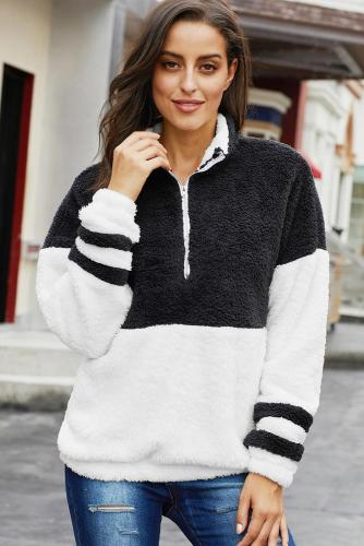 Black Colorblock Furry Zipped Pullover Sweatshirt Outwear