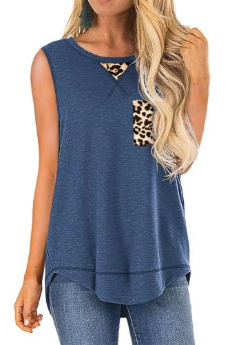 Blue Tank Top with Leopard Patch Detail