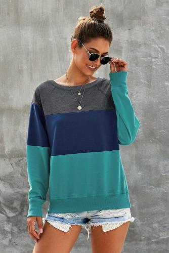 Green Raglan Sleeve Color Block Pullover Sweatshirt
