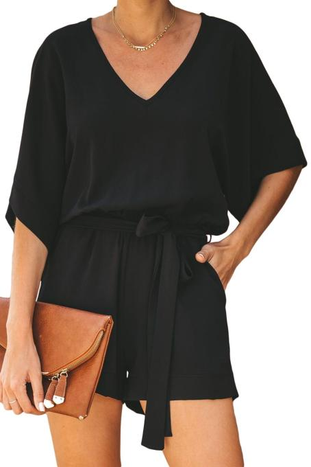 Black Spring Scene Pocketed Tie Romper