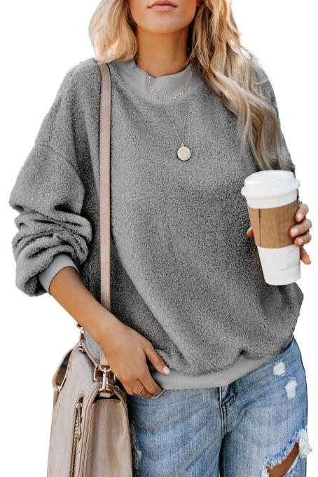 Gray Terry Thread Cashmere Sweatshirt