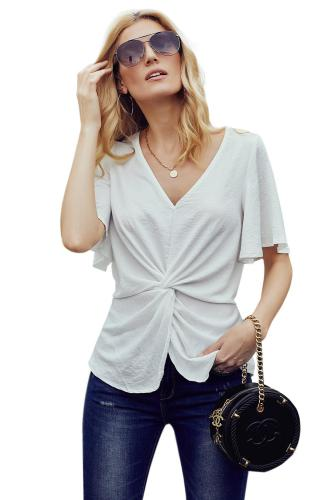 White V-Neck Bell Sleeve Twist Pleated Blouse