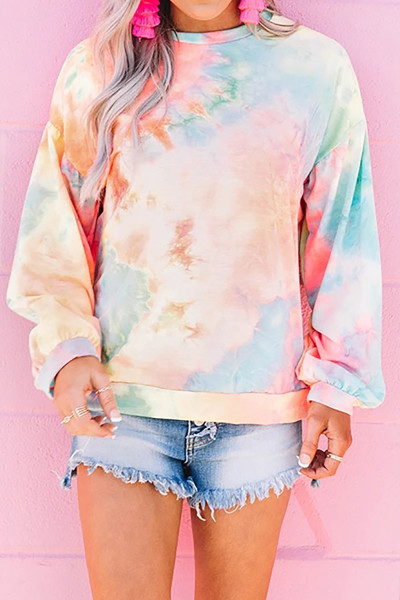 Orange Tie-dye Knit Sweatshirt