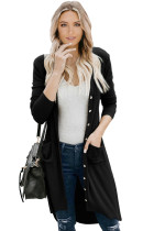 Black Selected Button Down Pocketed High Low Cardigan