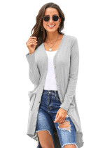 Light Gray Selected Button Down Pocketed High Low Cardigan