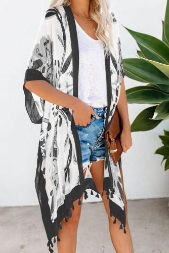 Black Bohemian Print Open Front Loose Kimono Beach Cover up