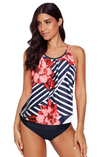 Red Floral Print Criss Cross Hollow-out Tankini Swimwear