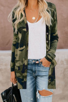 Green Camo Print Button Down Cardigan