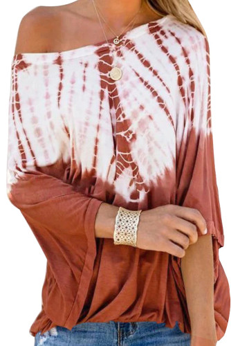 Orange Tie-Dye Print Long Batwing Sleeve Loose Casual Blouse