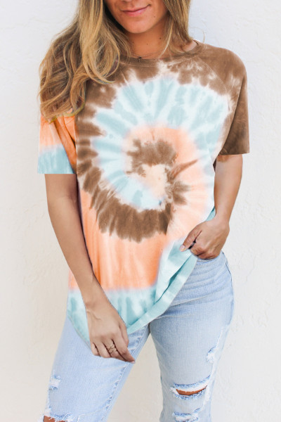 Brown Tie Dye Cotton Blend Tee