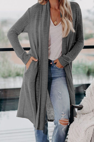 Gray Slouchy Pocketed Knit Longline Cardigan