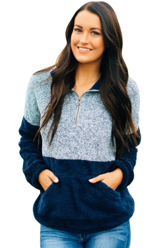 Navy Gray Color Block Zip High Neck Fleece Sweatshirt
