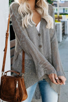 Gray Loose Lightweight V Neck Buttoned Sheer Knit Cardigan