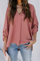 V Neck 3/4 Sleeve High Low Hem Shirt