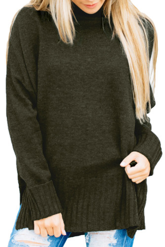 Khaki Green Turn-up Sleeve Turtle Neck Sweater