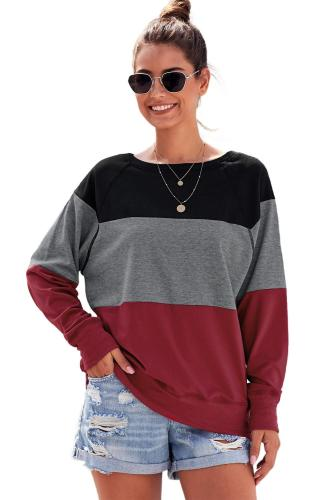 Red Raglan Sleeve Color Block Pullover Sweatshirt