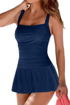 Blue Padded Push up One Piece Swimdress