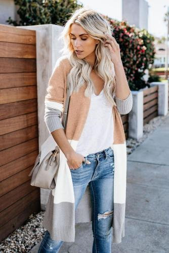 Khaki Love The One You're With Colorblock Cardigan