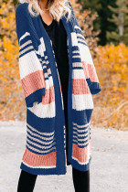 Blue Pocketed Novelty Striped Chenille Cardigan