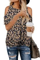 Brown Leopard Print Cold Shoulder Top