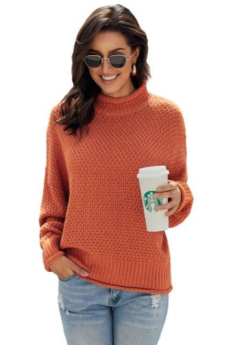 Orange Oversized Chunky Batwing Long Sleeve Turtleneck Sweater