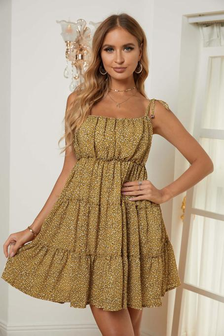 Yellow A-line Layered Ruffled Floral Dress
