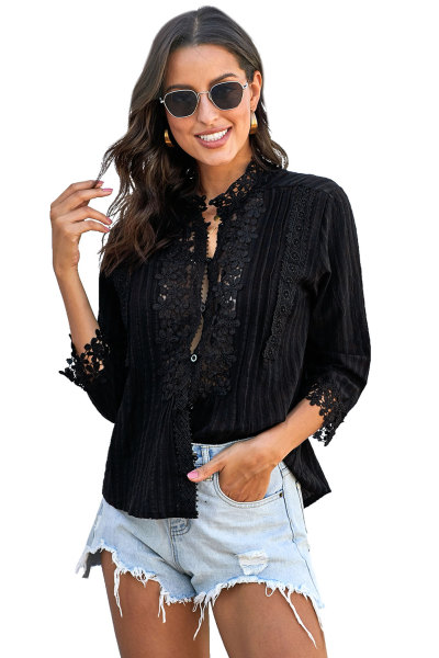 Black Sweet Mary Crochet Lace Top