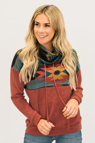 Red Aztec Cowl Pullover Hoodie