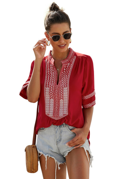Red Elbow Length Sleeves Front Embroidery Blouse