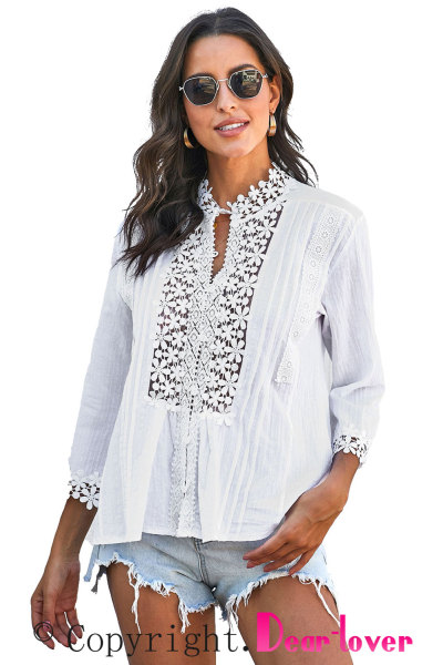 White Sweet Mary Crochet Lace Top