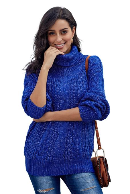 Blue Chunky Turtleneck Sweater