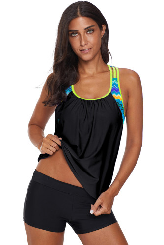 Black Blouson Striped Printed Strappy T-Back Push up Tankini Top