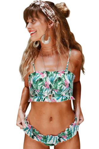 Green Cute Floral Patterned Smocked Bikini