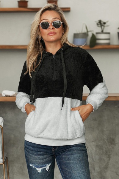 Black White Colorblock Furry Hoodie