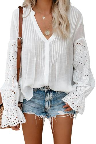 White Rekindle Eyelet Button Up Top