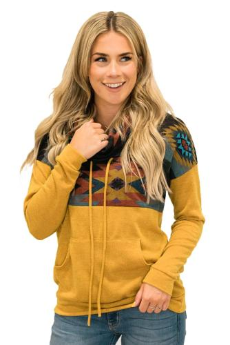 Yellow Aztec Cowl Pullover Hoodie
