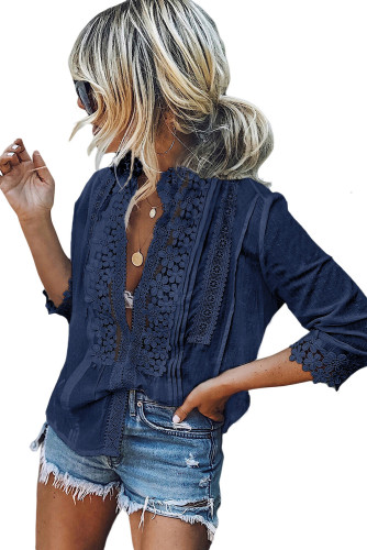 Blue Sweet Mary Crochet Lace Top