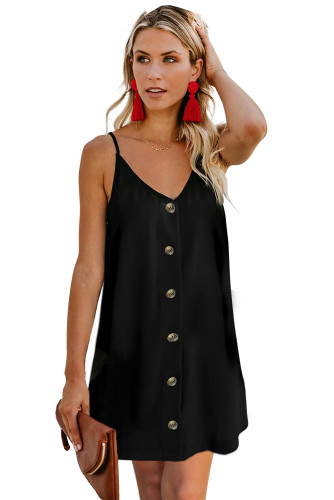 Black Buttoned Slip Dress