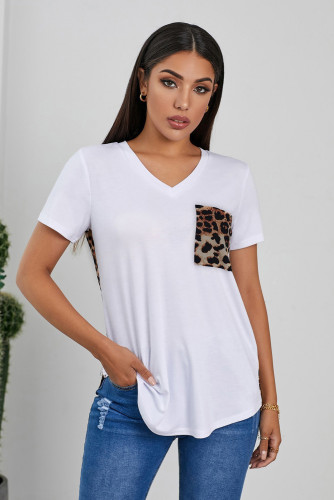 White Leopard Printed Splicing T-Shirt