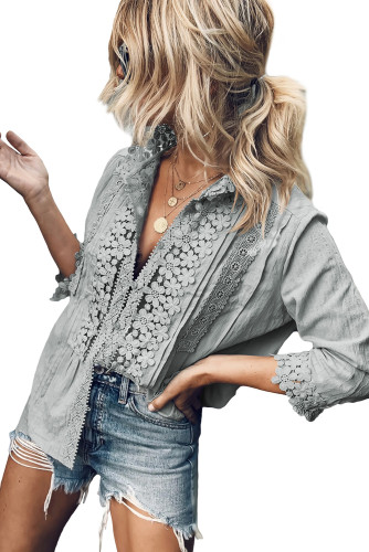 Gray Sweet Mary Crochet Lace Top