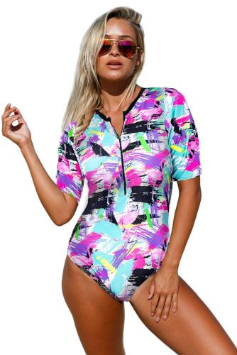 Rose Print Zip Front Half Sleeve One Piece Swimsuit