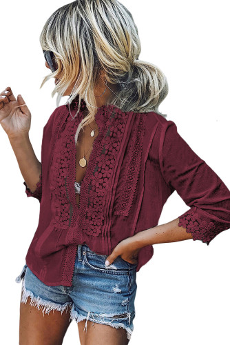 Red Sweet Mary Crochet Lace Top