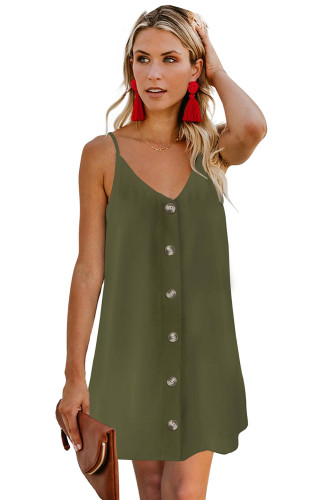Green Buttoned Slip Dress