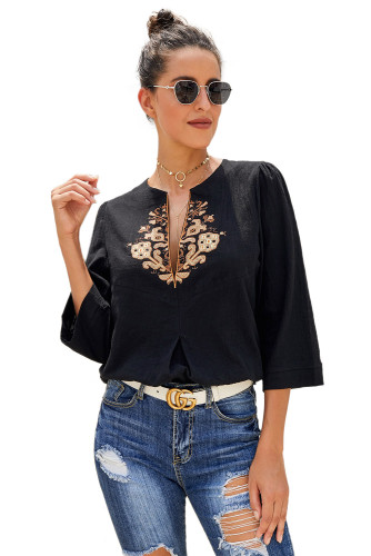 Black Boho Embroidered V Neck 3/4 Sleeve Casual Blouse