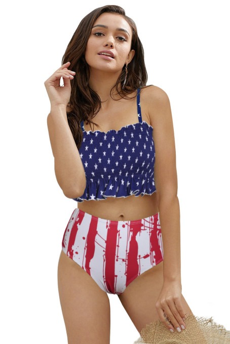 Flag Print High Waist Printed Smocked Bikini