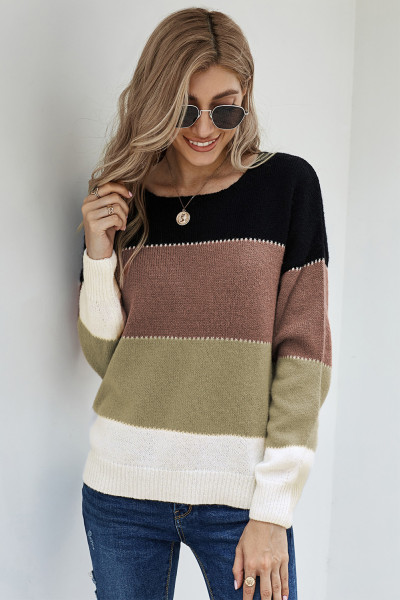 Black Pullover Colorblock Winter Sweater