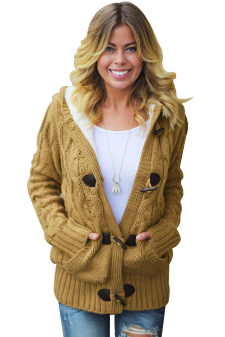 Brown Fur Hood Horn Button Sweater Cardigan
